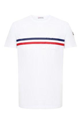 Мужская хлопковая футболка MONCLER белого цвета, арт. F2-091-8C755-10-8390T | Фото 1