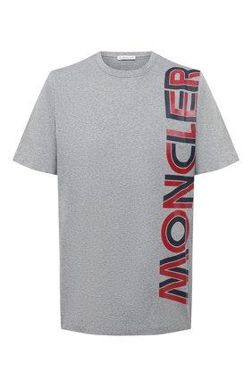 Мужская хлопковая футболка MONCLER серого цвета, арт. F2-091-8C760-10-8390Y | Фото 1