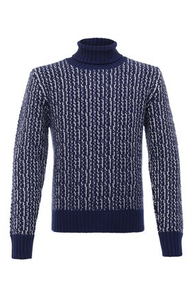 Мужской кашемировый свитер KITON синего цвета, арт. UK1211 | Фото 1 (Рукава: Длинные; Длина (для топов): Стандартные; Материал внешний: Шерсть; Стили: Кэжуэл)