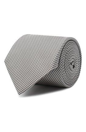 Мужской шелковый галстук BOSS серебряного цвета, арт. 50442046 | Фото 1
