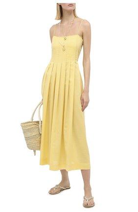 Женское хлопковое платье THREE GRACES желтого цвета, арт. TGL DR7000   Фото 2