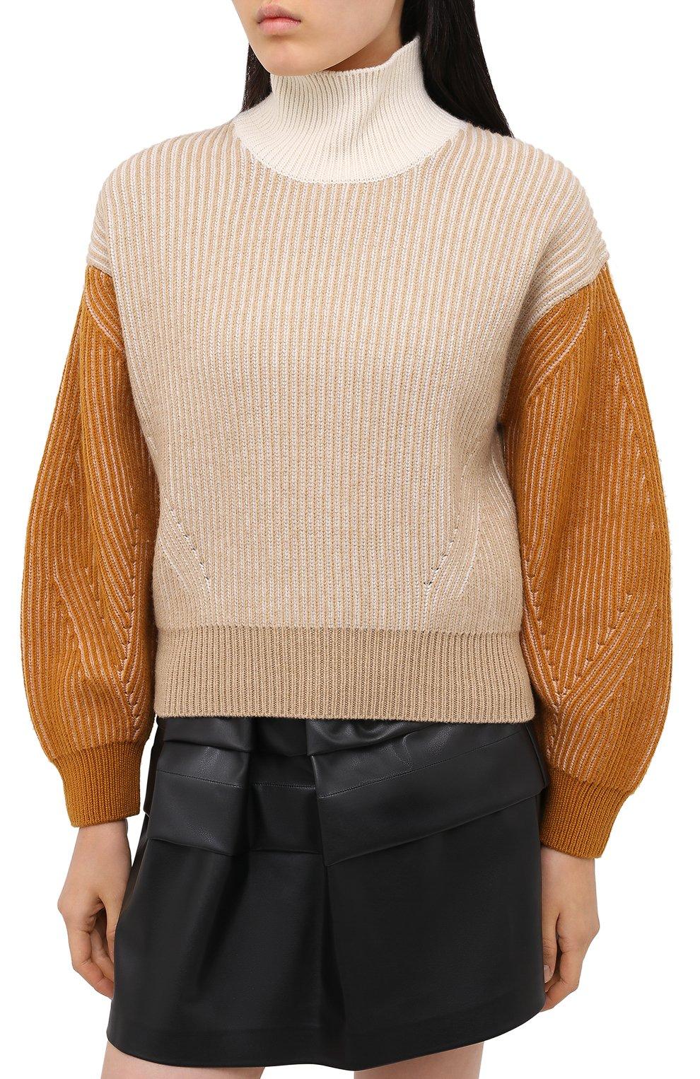 Женский шерстяной свитер KENZO бежевого цвета, арт. FA62PU5033AD | Фото 3
