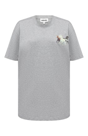 Женская хлопковая футболка KENZO серого цвета, арт. FA62TS9714SJ | Фото 1