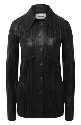 Женская рубашка NANUSHKA черного цвета, арт. BLAINE_BLACK PLEAT_VEGAN LEATHER | Фото 1