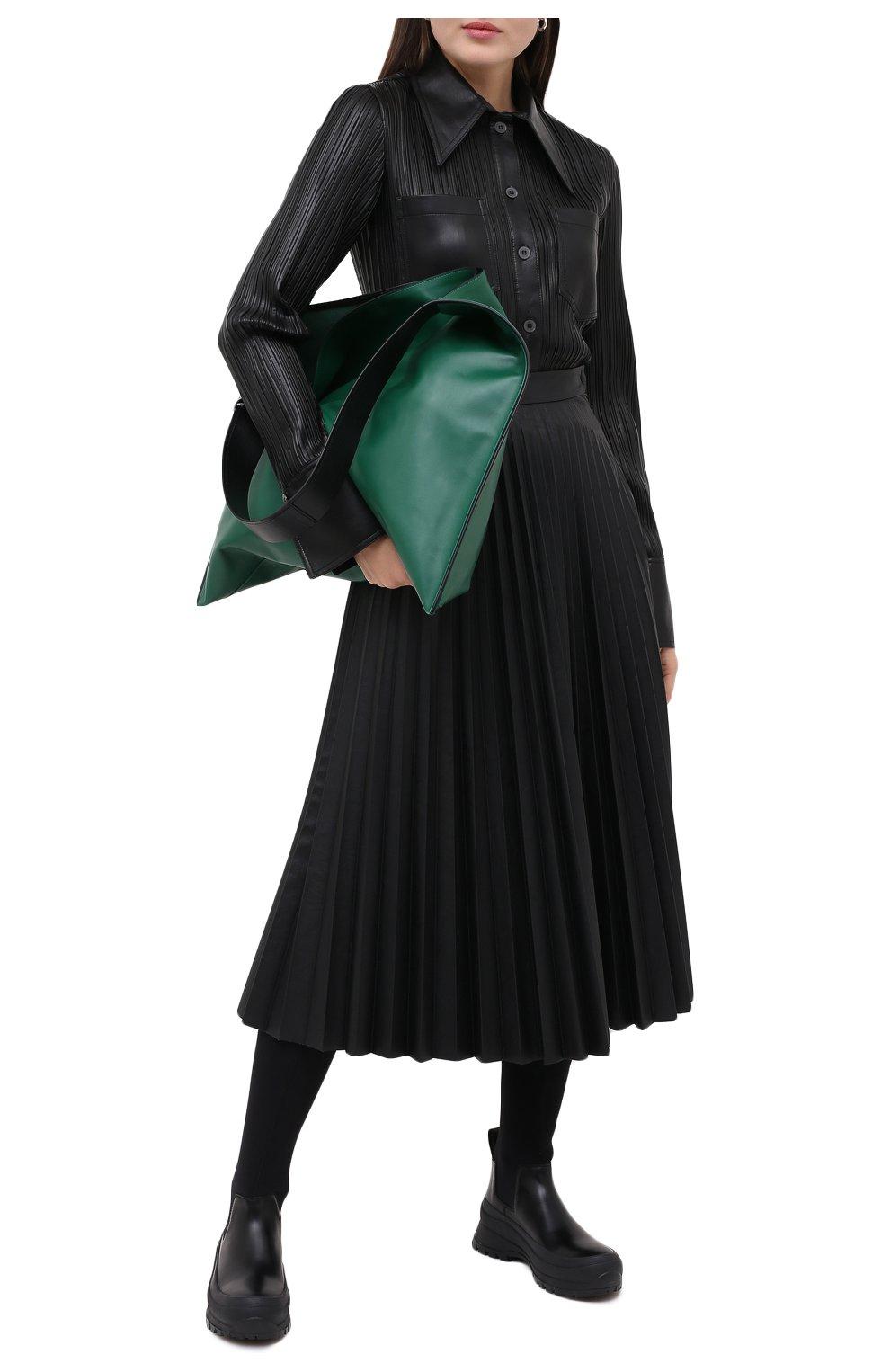 Женская рубашка NANUSHKA черного цвета, арт. BLAINE_BLACK PLEAT_VEGAN LEATHER | Фото 2