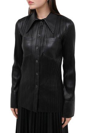 Женская рубашка NANUSHKA черного цвета, арт. BLAINE_BLACK PLEAT_VEGAN LEATHER | Фото 3