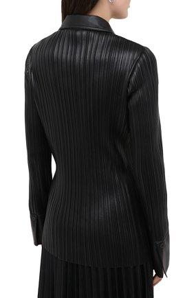 Женская рубашка NANUSHKA черного цвета, арт. BLAINE_BLACK PLEAT_VEGAN LEATHER | Фото 4