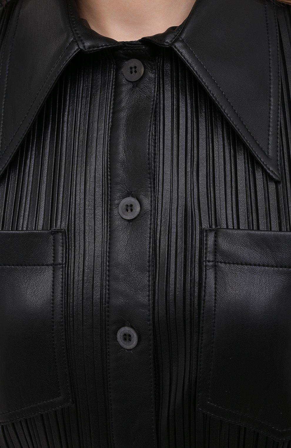 Женская рубашка NANUSHKA черного цвета, арт. BLAINE_BLACK PLEAT_VEGAN LEATHER | Фото 5