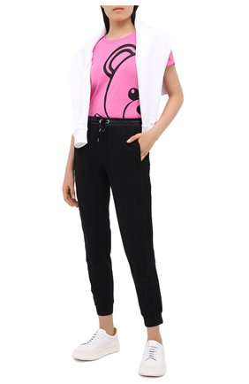 Женская хлопковая футболка MOSCHINO UNDERWEAR WOMAN розового цвета, арт. A1915/9012 | Фото 2