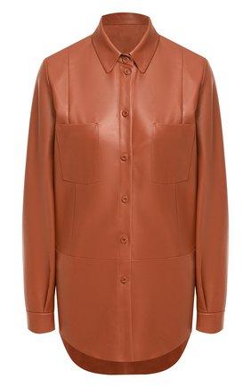 Женская кожаная рубашка DROME коричневого цвета, арт. DPD0398P/D400P | Фото 1