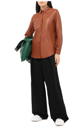 Женская кожаная рубашка DROME коричневого цвета, арт. DPD0398P/D400P | Фото 2