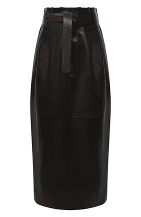 Женская кожаная юбка DROME черного цвета, арт. DPD1981P/D1098P   Фото 1 (Длина Ж (юбки, платья, шорты): Миди; Материал подклада: Вискоза; Материал внешний: Кожа; Женское Кросс-КТ: Юбка-карандаш; Стили: Гламурный)