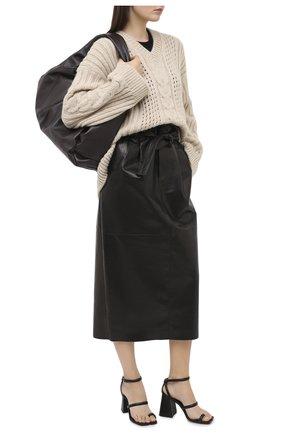 Женская кожаная юбка DROME черного цвета, арт. DPD1981P/D1098P   Фото 2 (Длина Ж (юбки, платья, шорты): Миди; Материал подклада: Вискоза; Материал внешний: Кожа; Женское Кросс-КТ: Юбка-карандаш; Стили: Гламурный)