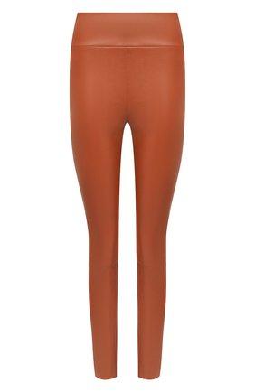 Женские кожаные леггинсы DROME коричневого цвета, арт. DPD7001P/D074P   Фото 1 (Длина (брюки, джинсы): Стандартные; Женское Кросс-КТ: Леггинсы-одежда)