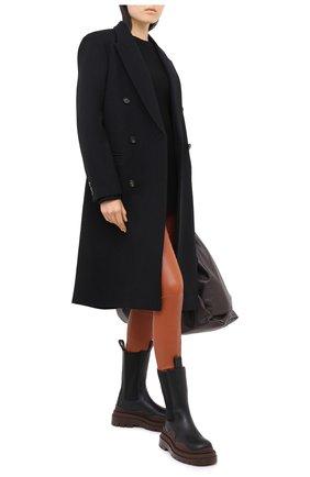 Женские кожаные леггинсы DROME коричневого цвета, арт. DPD7001P/D074P   Фото 2 (Длина (брюки, джинсы): Стандартные; Женское Кросс-КТ: Леггинсы-одежда)