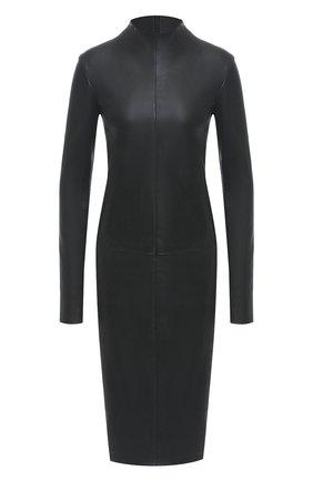 Женское кожаное платье DROME черного цвета, арт. DPDA481/D074 | Фото 1