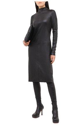 Женское кожаное платье DROME черного цвета, арт. DPDA481/D074 | Фото 2