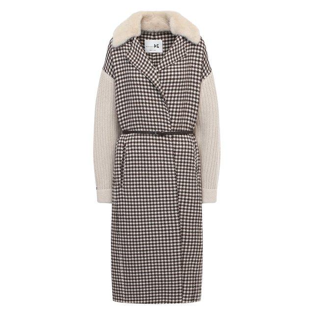 Шерстяное пальто с меховой отделкой manzoni24