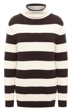 Женский свитер из шерсти и кашемира MANZONI24 коричневого цвета, арт. 20M727-XR/38-46   Фото 1