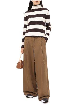 Женский свитер из шерсти и кашемира MANZONI24 коричневого цвета, арт. 20M727-XR/38-46   Фото 2