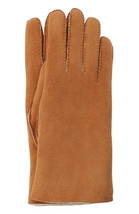 Женские замшевые перчатки с подкладкой из меха AGNELLE светло-коричневого цвета, арт. DENISE | Фото 1