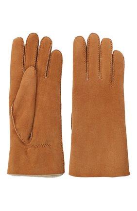 Женские замшевые перчатки с подкладкой из меха AGNELLE светло-коричневого цвета, арт. DENISE | Фото 2
