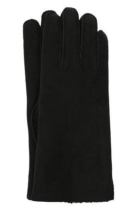 Женские замшевые перчатки с подкладкой из меха AGNELLE черного цвета, арт. DENISE | Фото 1