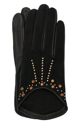 Женские кожаные перчатки AGNELLE черного цвета, арт. LEE/S | Фото 1