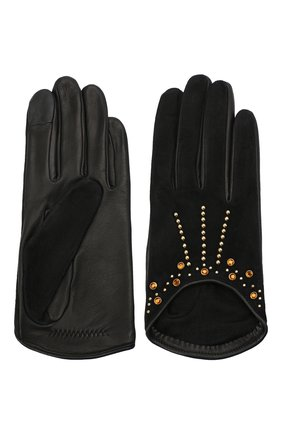 Женские кожаные перчатки AGNELLE черного цвета, арт. LEE/S | Фото 2