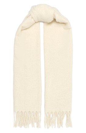 Женский шерстяной шарф BRUNELLO CUCINELLI белого цвета, арт. MSCDAG074 | Фото 1