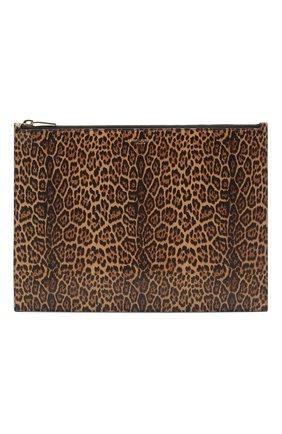 Женские кожаный футляр для документов rive gauche SAINT LAURENT леопардового цвета, арт. 635099/12S0J   Фото 1