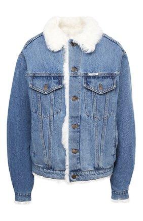 Женская джинсовая куртка с меховой подкладкой FORTE DEI MARMI COUTURE голубого цвета, арт. FFW19-1107-02 | Фото 1