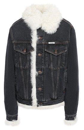 Женская джинсовая куртка с меховой подкладкой FORTE DEI MARMI COUTURE черно-белого цвета, арт. FC-FW18-88 | Фото 1