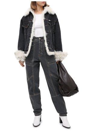 Женская джинсовая куртка с меховой подкладкой FORTE DEI MARMI COUTURE черно-белого цвета, арт. FC-FW18-88 | Фото 2