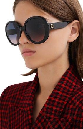 Женские солнцезащитные очки GUCCI черного цвета, арт. GG0712S 002   Фото 2