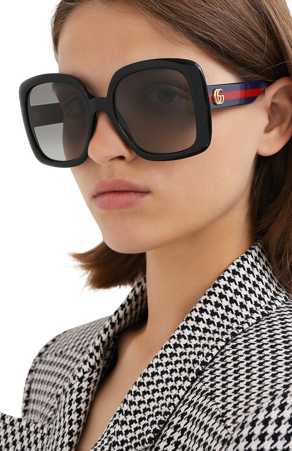 Женские солнцезащитные очки GUCCI черного цвета, арт. GG0713S 001   Фото 2