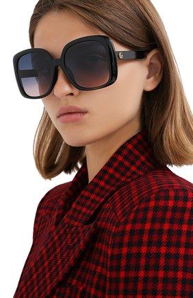 Женские солнцезащитные очки GUCCI черного цвета, арт. GG0714SA 002 | Фото 2