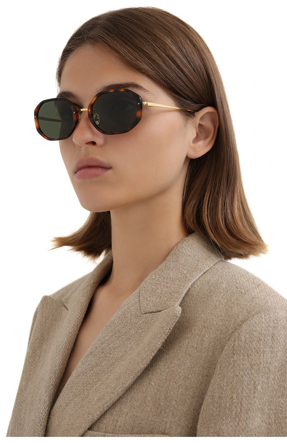 Женские солнцезащитные очки LINDA FARROW коричневого цвета, арт. LFL1084C2 SUN | Фото 2