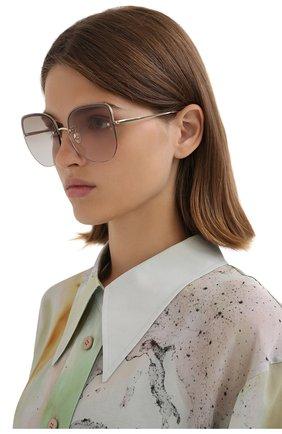 Женские солнцезащитные очки LINDA FARROW золотого цвета, арт. LFL1099C4 SUN   Фото 2