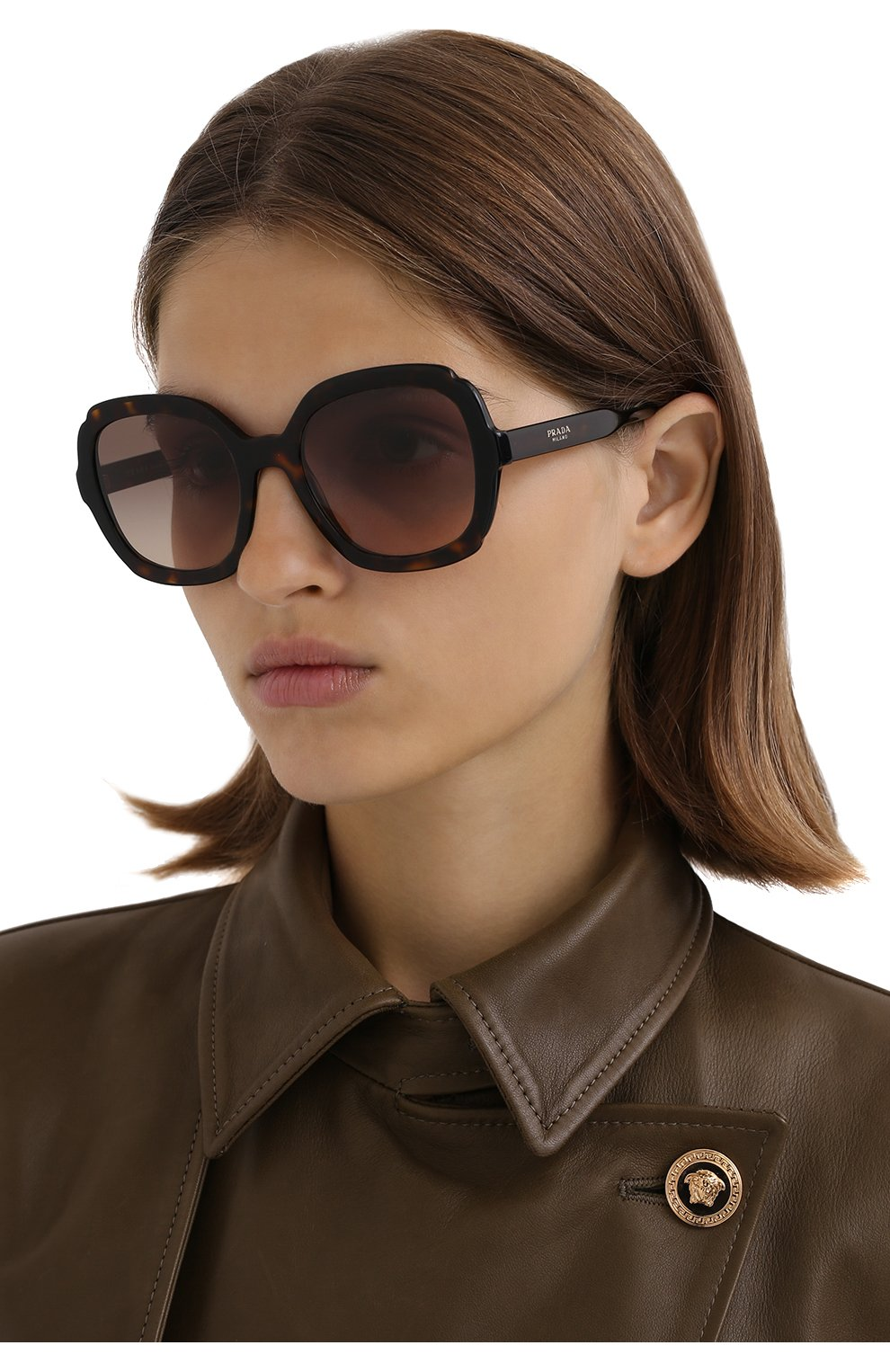 Женские солнцезащитные очки PRADA коричневого цвета, арт. 16US-3913D0   Фото 2