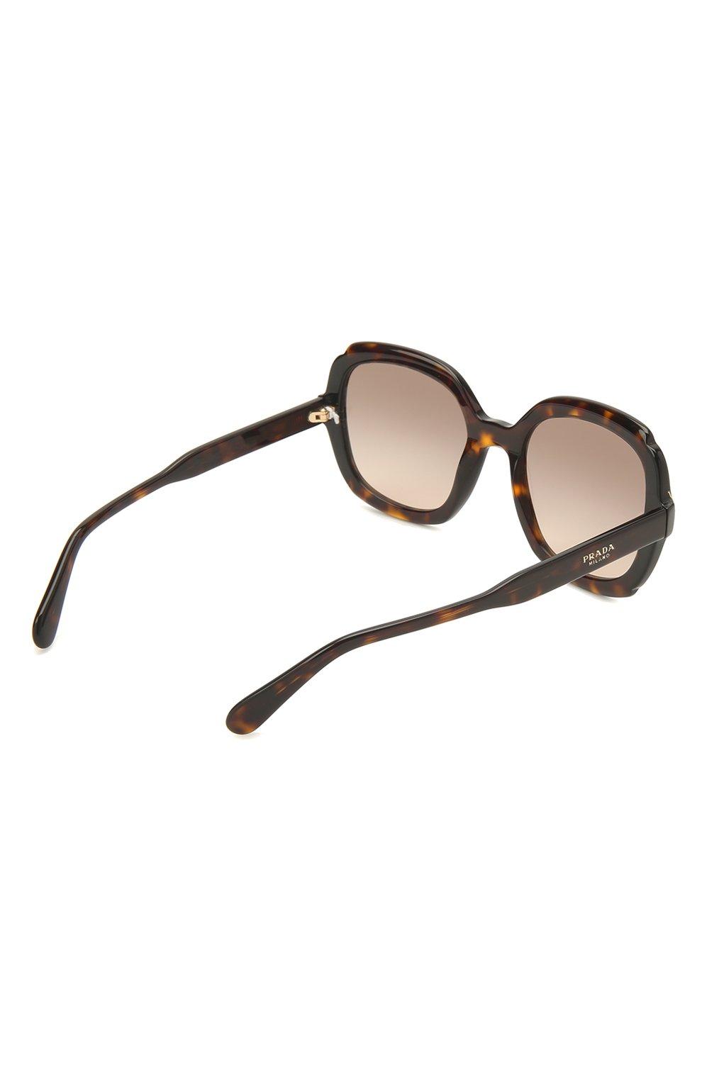 Женские солнцезащитные очки PRADA коричневого цвета, арт. 16US-3913D0   Фото 4