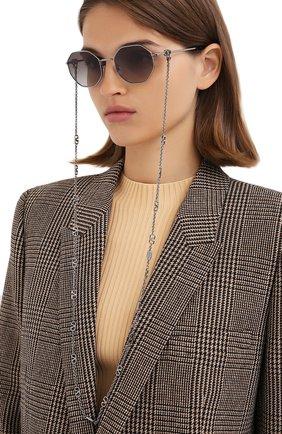 Женские солнцезащитные очки и цепочка VALENTINO серебряного цвета, арт. 2040-300511 | Фото 2