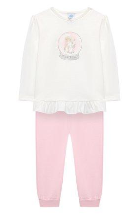 Детский хлопковая пижама SANETTA белого цвета, арт. 221560 | Фото 1