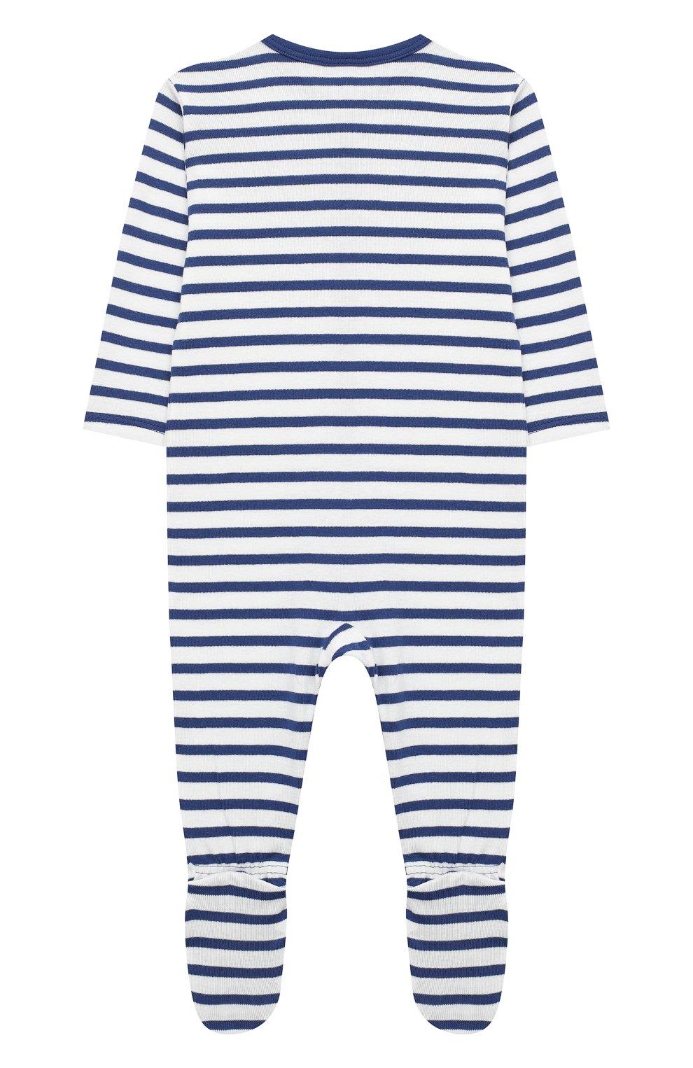 Детский хлопковый комбинезон SANETTA синего цвета, арт. 221553 | Фото 2