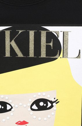 Детская хлопковый лонгслив SONIA RYKIEL ENFANT черного цвета, арт. 20W1TS04 | Фото 3