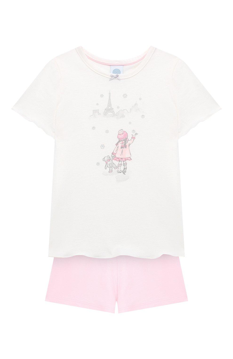 Детская хлопковая пижама SANETTA белого цвета, арт. 232492 | Фото 1