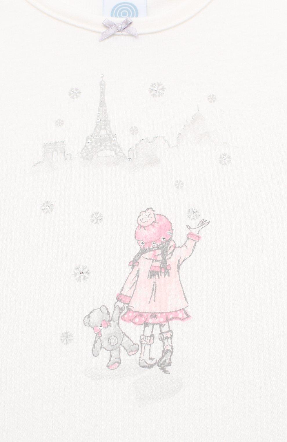 Детская хлопковая пижама SANETTA белого цвета, арт. 232492 | Фото 6