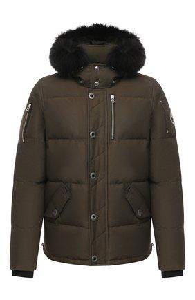 Мужская пуховая куртка 3q с меховой отделкой MOOSE KNUCKLES хаки цвета, арт. MK2228M3Q | Фото 1