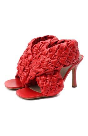 Женские кожаные босоножки bv board BOTTEGA VENETA красного цвета, арт. 632507/VBT10 | Фото 1