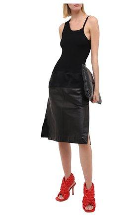 Женские кожаные босоножки bv board BOTTEGA VENETA красного цвета, арт. 632507/VBT10 | Фото 2